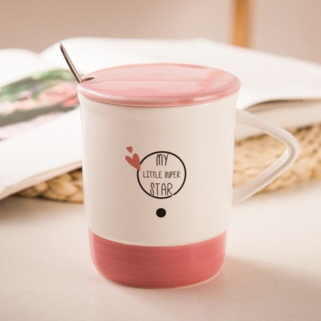 Japanese simple color ceramic coffee mug with spoon lid English