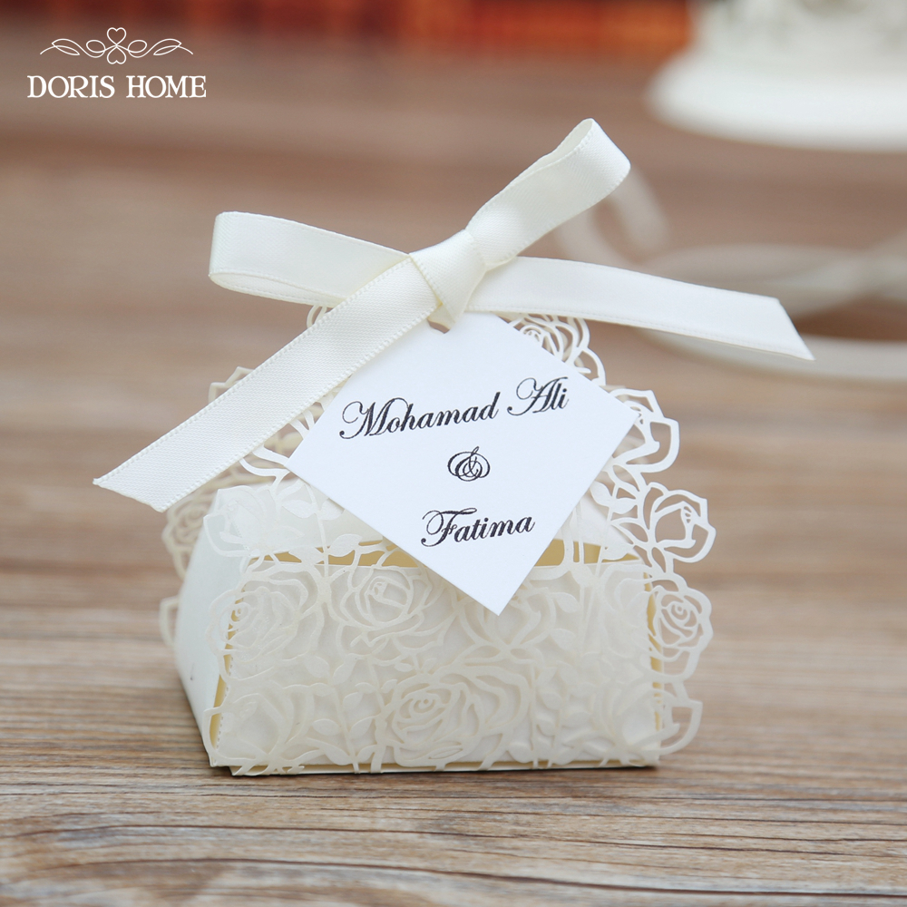 100pcs Cream Rose Laser Cut Wedding Favor Boxes Wedding Candy Box