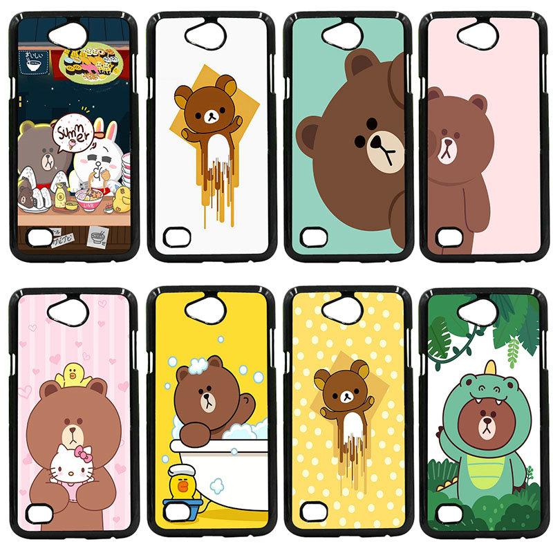 Cute Rilakkuma Bear Phone Case Black Hard PC Cover For LG L Prime G2 G4 G5 G6 G7 K4 K8 K10 V20 V30 Nexus 5 6 5X Pixel Shell