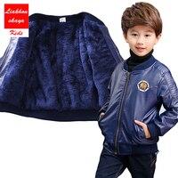 Boyutu 90-170 Çocuk Tops Pu Polar Deri Bebek Boys Için Çocuk Kış Ceketler Siyah Serin Giyim çocuk Pu Deri Ceket