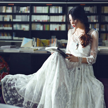 Spring new white lace embroidered dress literary  pendulum beach holiday Slim quality Hollow Out Dresses