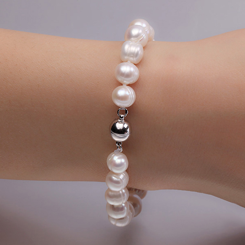 JYX Natural 8-10mm White Round Freshwater Pearl Bracelet Men Women 7.5JYX Natural 8-10mm White Round Freshwater Pearl Bracelet Men Women 7.5