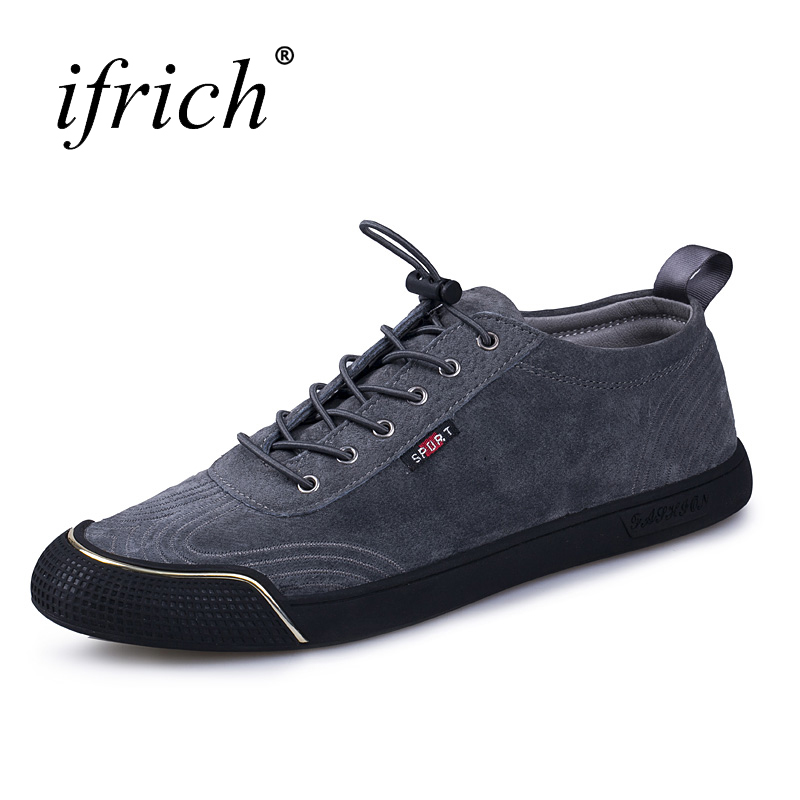 Ifrich 2017 Hot Sale Leather Casual Shoes Men Elastic Band Leather Flat Men Shoes Gray Black Low Top Sneakers for Men original vans black and blue gray and red color low top men s skateboarding shoes sport shoes sneakers