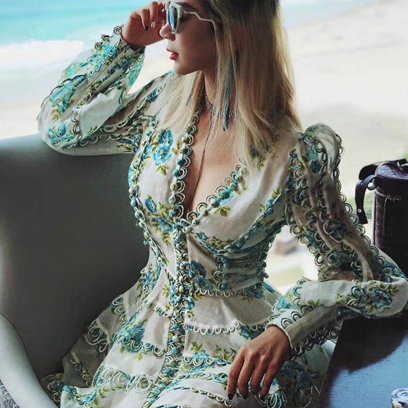 Robe de créateur de piste 2018 femmes de haute qualité manches bouffantes Sexy col en v Floral imprimé broderie bouton robe de station