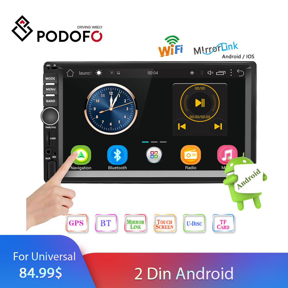 Podofo 2 Din Android Car Radio Double Din GPS Car Stereo Radio 7 Touch Screen 2din