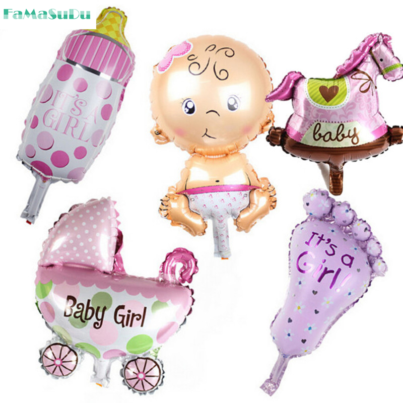 5pcs/lot mini balloon baby shower party foil baby boy girl balloons Birthday Party Decoration baloes de festa