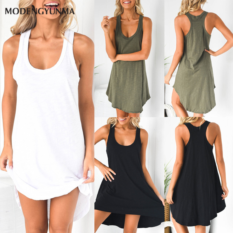 Women Dress New Arrival Irregular Sleeveless Summer Dress O neck Casual Loose Mini cotton Dresses Vestidos Maternity clothes
