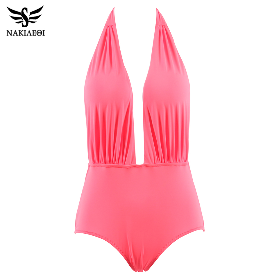 NAKIAEOI Sexy Halter Swimwear Female One Piece Swimsuit Swimwear Women One Piece Swimsuit Backless Beach Bathing Suits Swimming 3