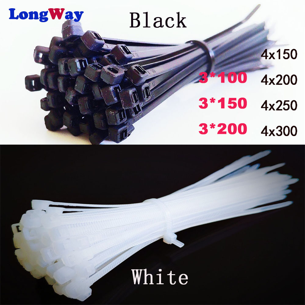 331aece963cc 100 pcs Zip Ties Black white Cable Self-Locking cable ties Plastic Nylon  Wire Cable