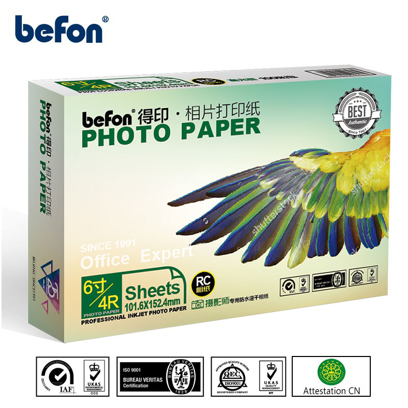 Befon 4x6 6 Inch 4R Glossy Photo Paper 100 Sheets 260gsm Water-proof Photographic Paper Used For All Color Inkjet Printer