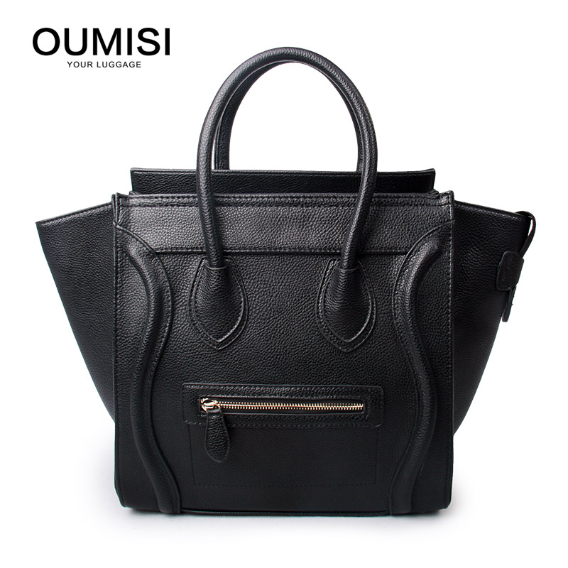 OUMISI Women Leather Handbags Vintage Woman Bags Bag Handbag Fashion Handbags Women Shoulder Bags Leather Pu Tote Bag BK classic black leather tote handbags embossed pu leather women bags shoulder handbags elegant