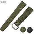 ZLIMSN 21mm Verde Del Ejército Hebilla Bandas de Nylon Correas de reloj de Plata de Acero Inoxidable Hombres Relojes Hombre Reloj Correa de La Banda Inferior 2016