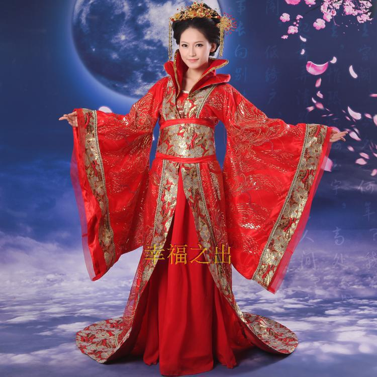 Elegant Chinese Ancient Traditional Infanta Dramaturgic Costume Robe Dresses Red