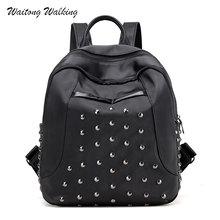 Женские рюкзаки 2017 черный нейлон сумки на плечо с заклепками школьная сумка для девочек-подростков Водонепроницаемый путешествия маленький черный Mochila 463