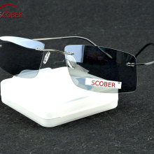 =SCOBER= Titanium Alloy Rimless Polarized sunglasses Super l