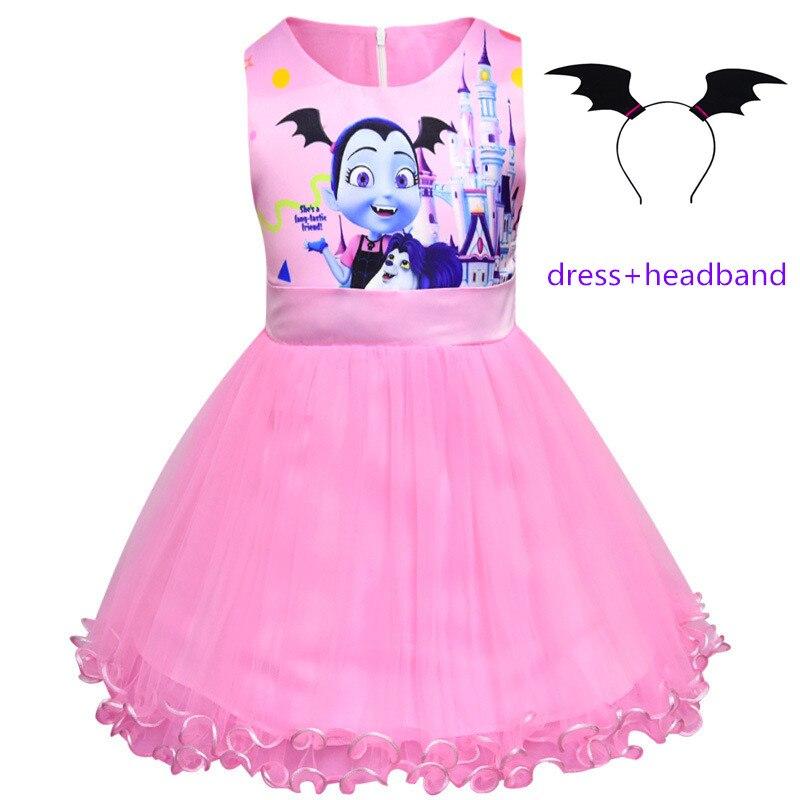 Kids Vampirinas Clothing Princess Party Evening Tutu Dress for Baby Girls Childrens Costumes Vestido Headband