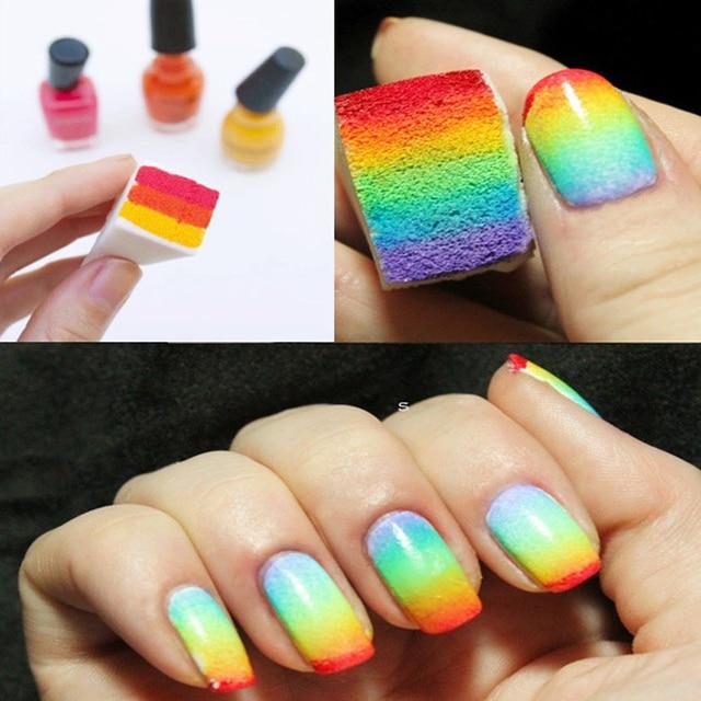 50Pcs Woman DIY Nail Art Tools Gradient Nails Soft Sponges For Color ...