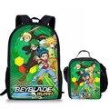 Ортопедические школьные сумки 2 шт./компл.  рюкзак для подростков  девочек и мальчиков  школьный ранец  дорожный рюкзак с принтом Beyblade Burst  Мул...