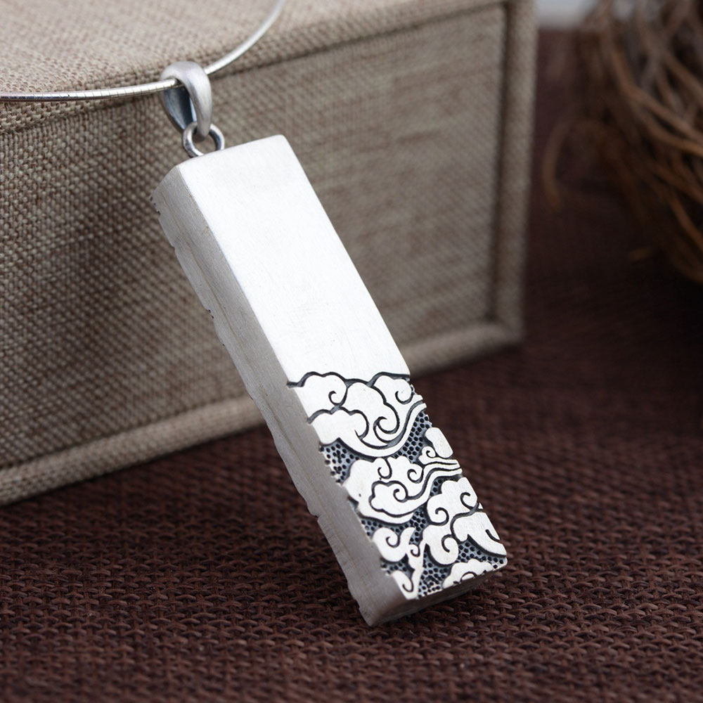 FNJ 925 Silver Cuboid Pendant Flower Pattern 100% Pure S925 Solid Thai Silver Pendants for Women Men Jewelry MakingFNJ 925 Silver Cuboid Pendant Flower Pattern 100% Pure S925 Solid Thai Silver Pendants for Women Men Jewelry Making