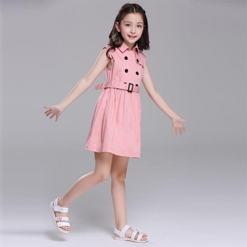 2019 nouveau été rose double boutonnage polocol filles robe fête formelle haute qualité Boutique enfants robes pour filles 6 8 10 12Y - 2