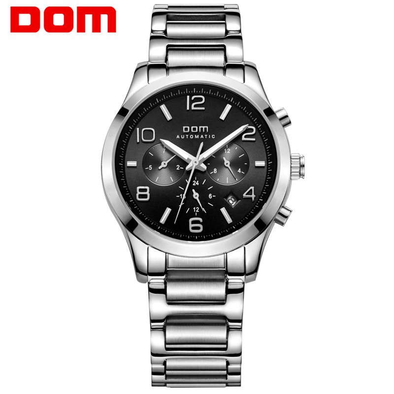 DOM luxury brand man wristwatches waterproof Mechanical automatic stainless steel men watches Multifunction calendar week clocks