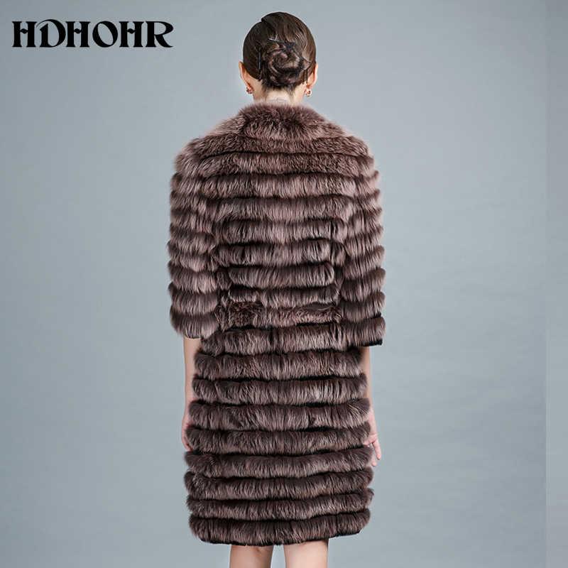 HDHOHR 2019 חדש נשים חם אמיתי שועל פרווה מעיל ארוך חורף אמיתי שועל פרווה עם חגורת הלבשה עליונה יכול להוסיף שרוולים משלוח