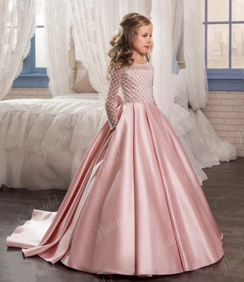 Fashion Pink Flower Girl Dresses Satin Kids Communion Dress With