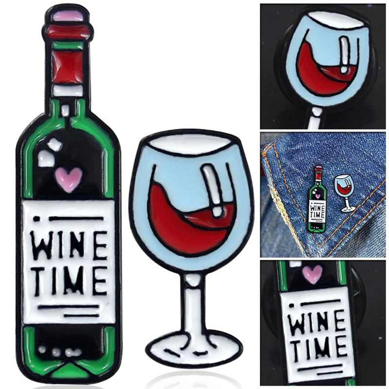 Wine Enamel Pin Wine Glass And Wine Bottle Brooches Wine Time Tiny Metal Brooch Pins Badge Gift For Women Men Lover
