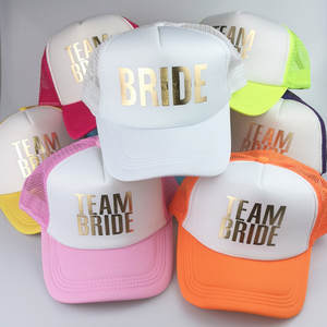... Team Bride Neon gold letter Arrow design mesh  CFung Trucker Caps White  glitter print hats summer style low cost 7cfd1 518dc 633a901379a8
