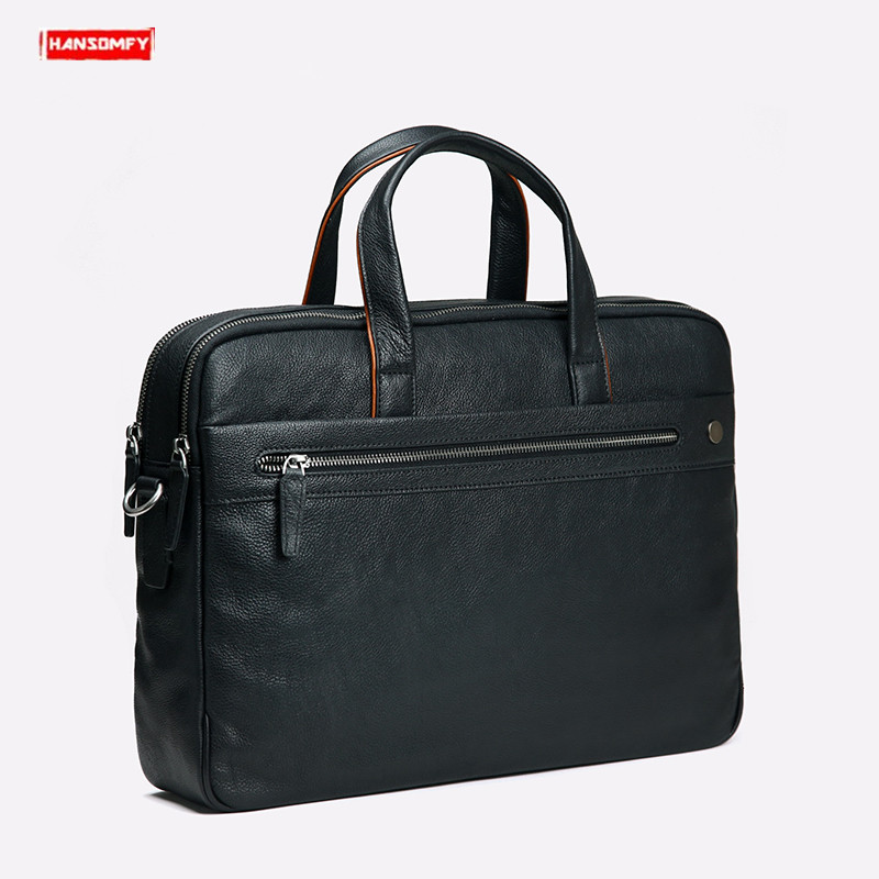2019 New Genuine Leather Men's Briefcase Business Black Leather Handbag Casual Shoulder Bag Large Capacity Computer Briefcases