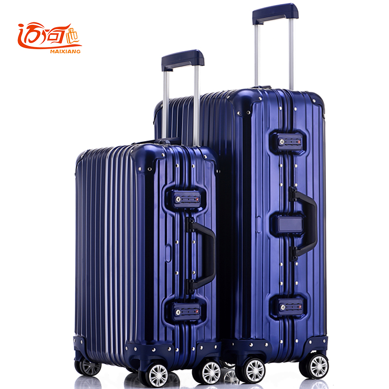 100% fully Aluminum-magnesium alloy trolley case 20/25 inch spinner aluminum metal rolling luggage business trolley valise cabin happy hop 9201p