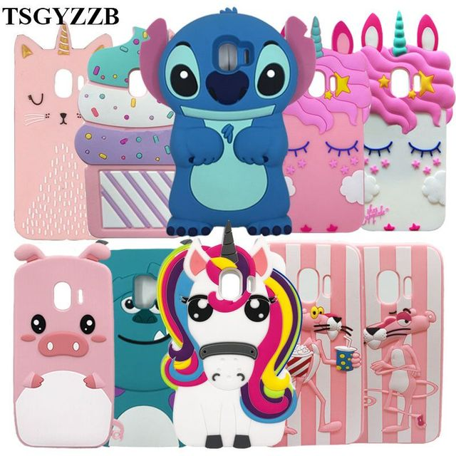 For Samsung Galaxy J2 Pro 2018 3D Silicon Stitch Unicorn Cat Cartoon Soft Phone Back Case Cover For Samsung J2 Pro 2018 J250F