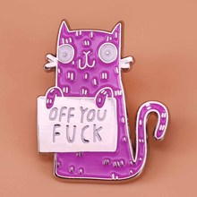 Shirts Cocked Brooch Backpack-Accessory Jewelry Badge Animal Enamel-Pin Cute Cat Tail