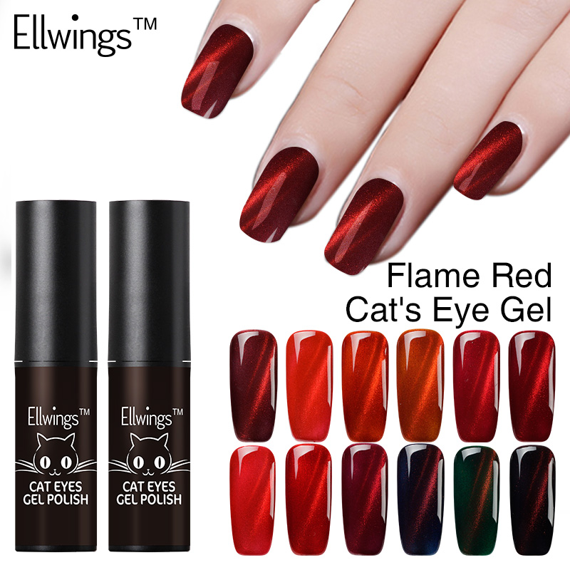 Ellwings Glitter 3D Colors Flame Red Cat s Eye Nail Gel Polish Uv Gel Varnish Glitter