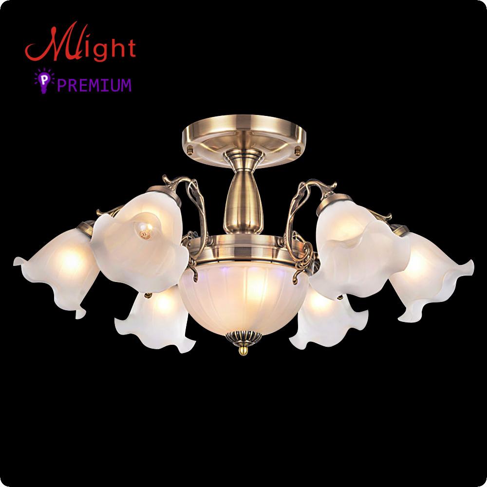 Europischen Traditionellen Stil Kronleuchter Sechs Bronze Arme Milchglas Wohnzimmer LampeChina Mainland