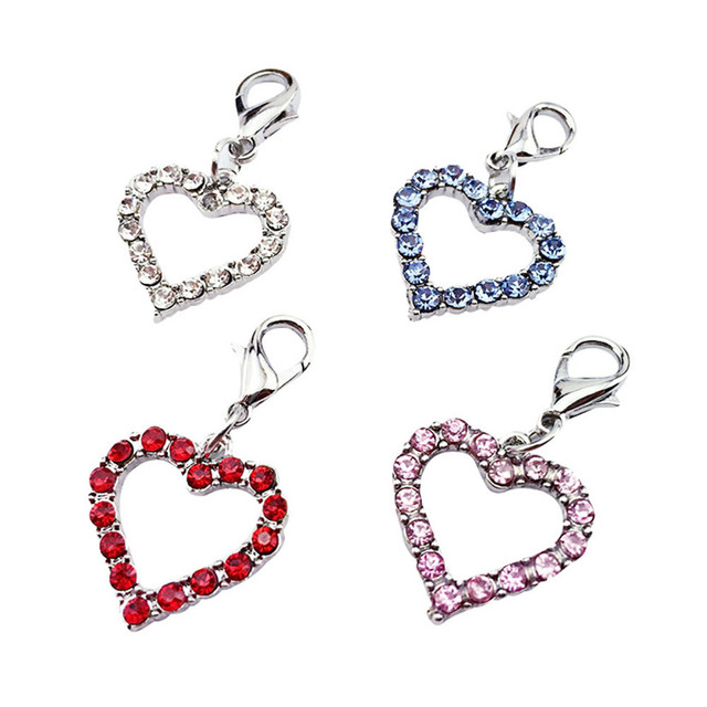 Fashion Popular Heart Shaped Puppy Rhinestone Pendant Lovely Pet Jewelry drop shipping aug24