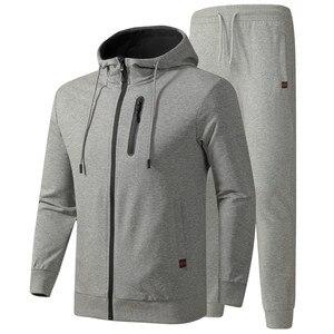 Image 1 - גברים של אימונית אביב סתיו כותנה ספורט חליפות זכר מקרית סטי סווטשירט + מכנסיים בגדים באיכות אסיה גודל L 6XL