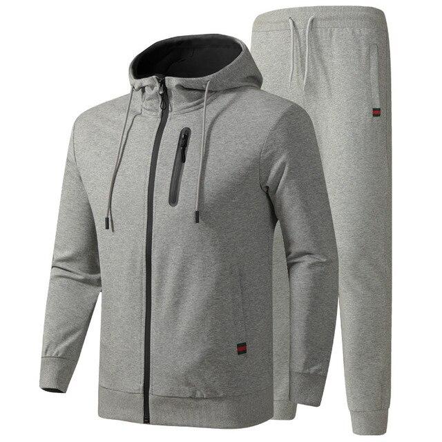 גברים של אימונית אביב סתיו כותנה ספורט חליפות זכר מקרית סטי סווטשירט + מכנסיים בגדים באיכות אסיה גודל L 6XL