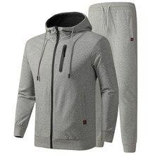 Fatos de Treino Primavera Outono Sportswear Algodão Casuais Masculinos dos homens Define Camisola + Calças Roupas de Qualidade Tamanho Asiático L 6XL