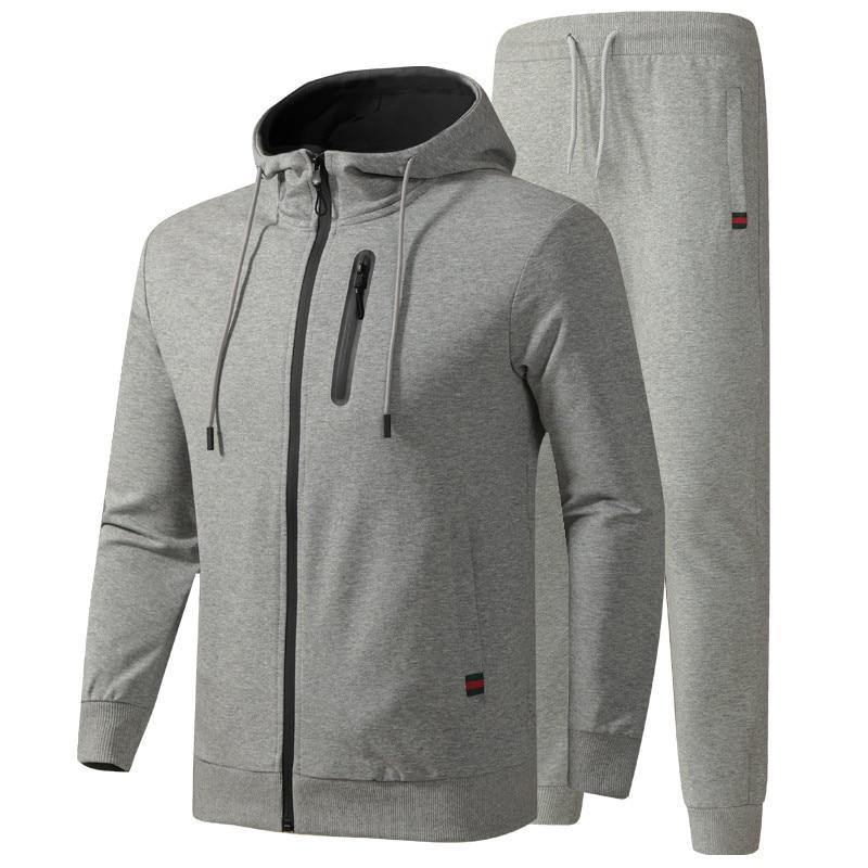 Men's Tracksuit Spring Autumn Cotton Sportswear Suits Male Casual Sets Sweatshirt+Pants Quality Clothes Asian Size L-6XL