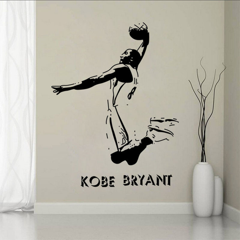 New sport hall of kobe basketball wall stickers bedroom for Decor mural grand format