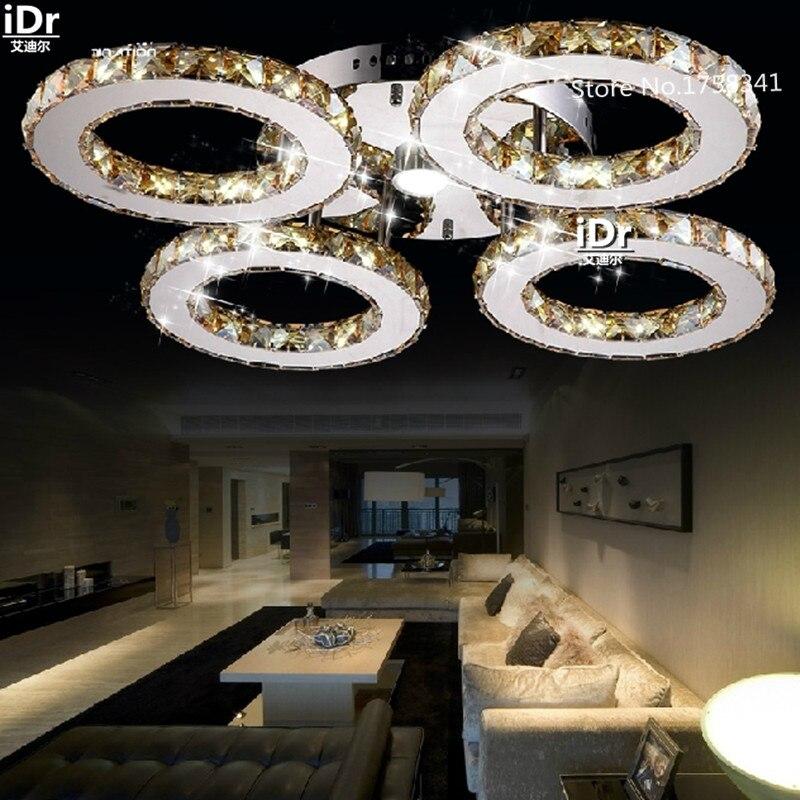 Modern hollow circular ceiling lights creative LED crystal lamp bedroom lamp living room stainless steel led creative crystal ceiling lights