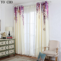 YO CHO purple vine flowers 3d blackout curtains for living room elegant popular pastoral window curtains hotel home window decor
