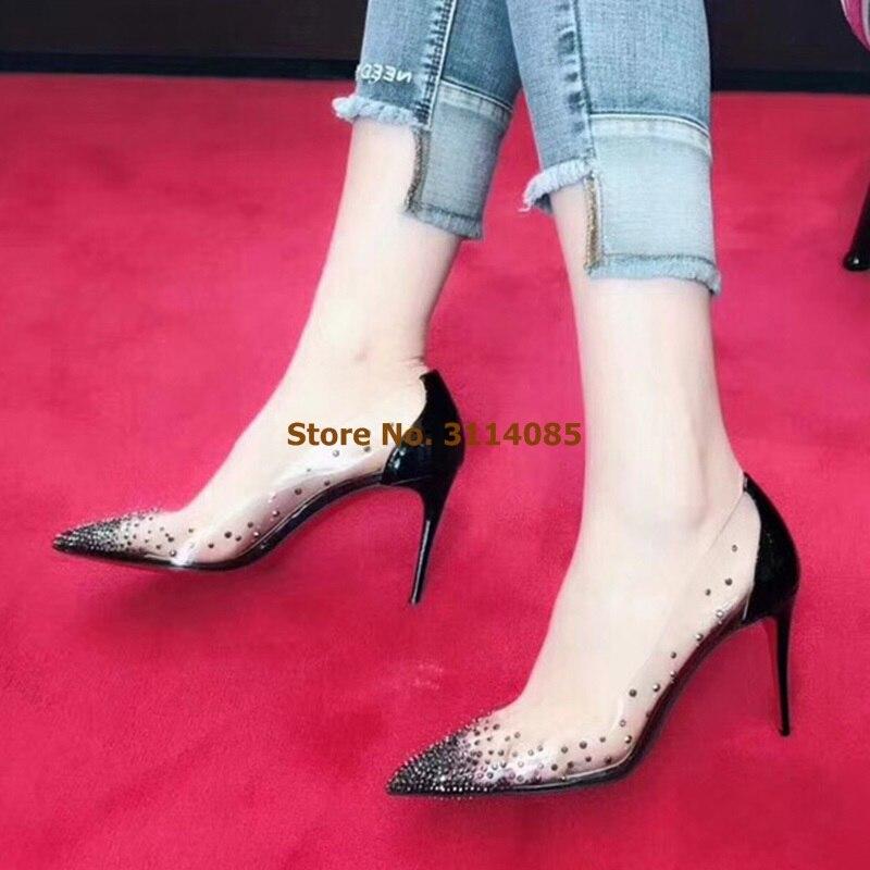 Zapatos elegantes de boda de cristal Bling para mujer zapatos de retazos de tacón blanco desnudo zapatos de banquete de PVC transparente bombas de brillo - 4