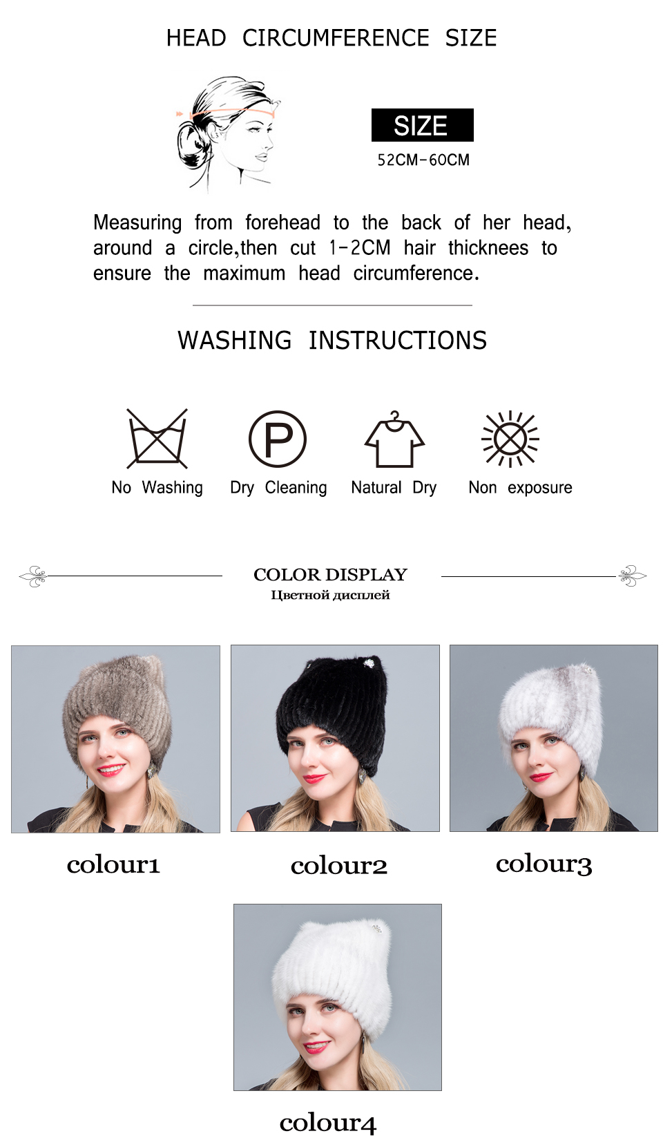 Middle aged women in the winter: mink fur women's knitted sweater hat new fashion European and American cat style ski caps 14