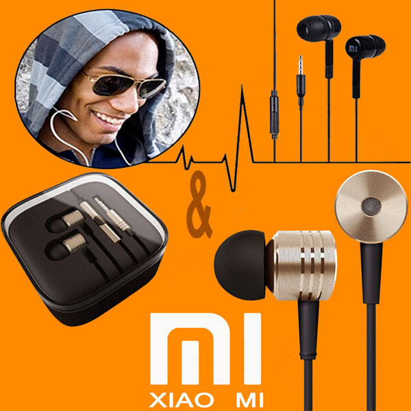 100%Original XIAOMI Earphones Headphones MIC Headsets Stereo 3.5mm Jack Bass In Ear noise isolating Headphones MP4 Android Phone