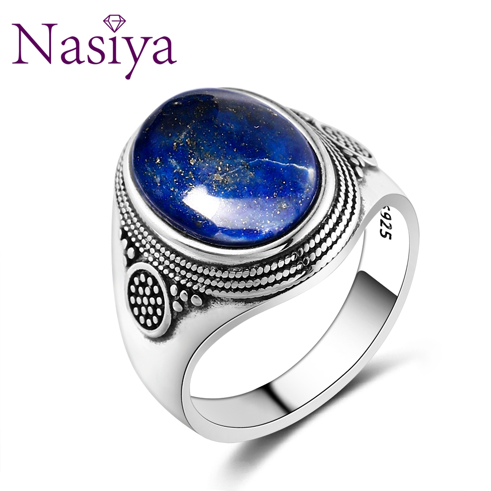 Nasiya Luxury Vintage  Sterling Silver RRing 10x14MM Big Oval Lapis Lazuli Rings For Men WomenFine Jewelry Party Anniversary