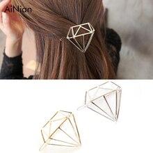 AiNian 2018 New Geometric Shape Hairpin Princess Crown Tiara Girl Hair Accessories Hollow Hairpin Jewelry Women