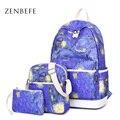 Zenbefe 3 unids/set mujeres poliéster mochila mochilas escolares para las niñas adolescentes mochilas lindo mochila mochila señora mochilas