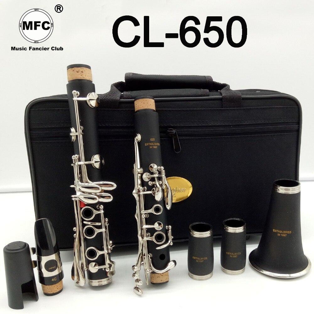 Marque Nouvelle Musique Amateur Club Mat ABS Résine Clarinette MFCCL-650 Bakélite Clarinettes Professionnel Bb Embout 4C Inclus Cas